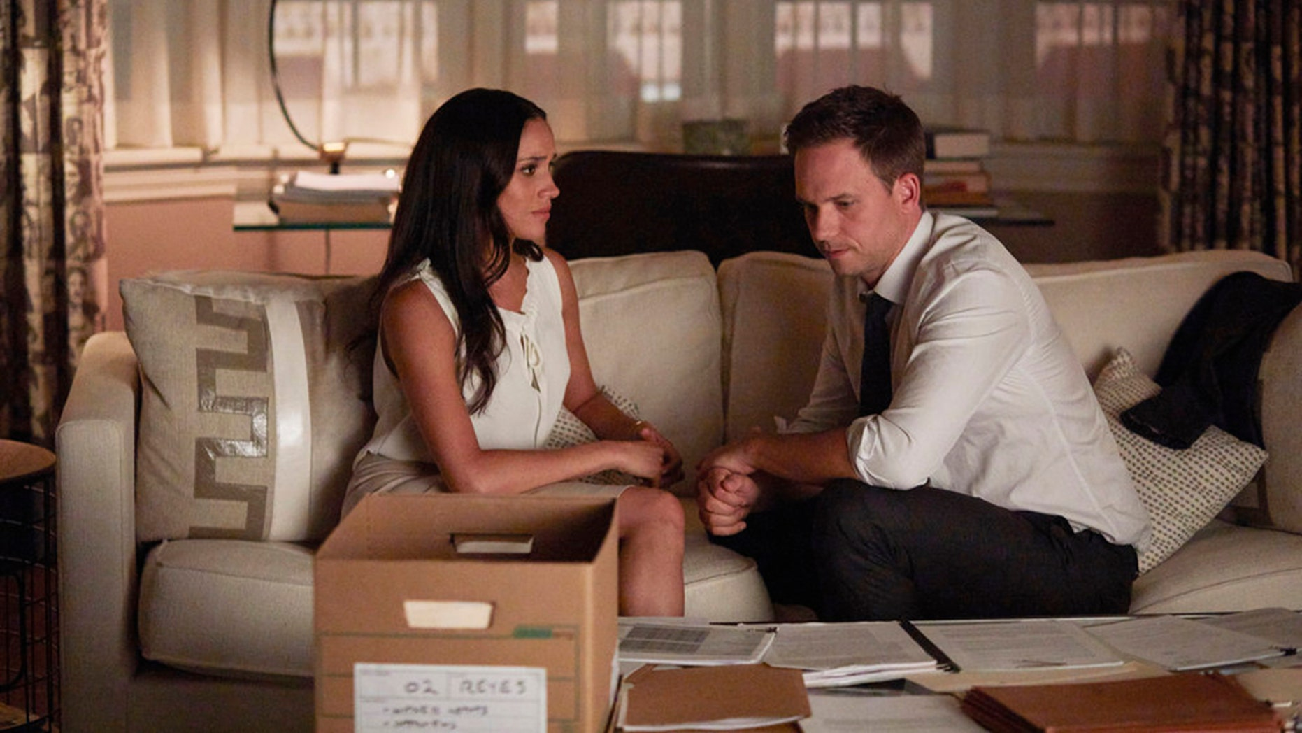 """Meghan Markle as Rachel Zane and Patrick J. Adams as Michael Ross in a recent episode of """"Suits."""""""