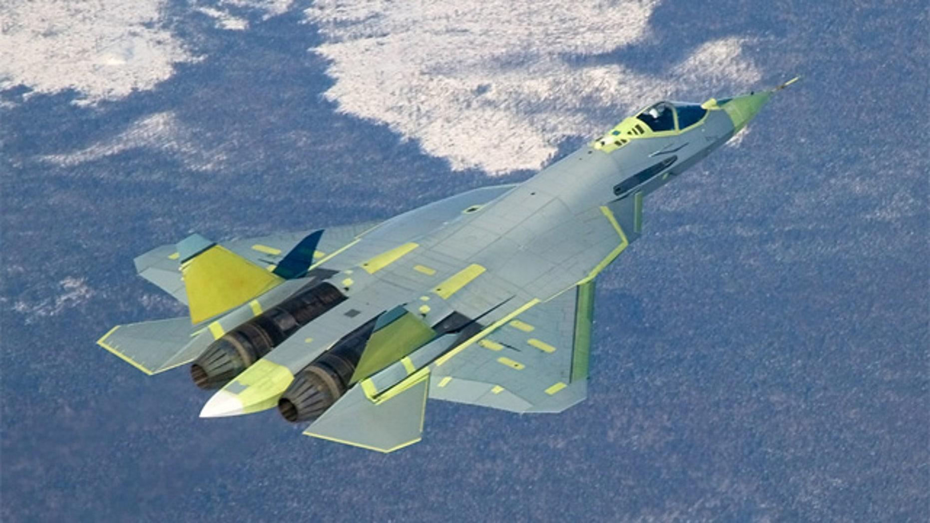 PAK FA T-50 prototype on its maiden flight, January 29, 2010.