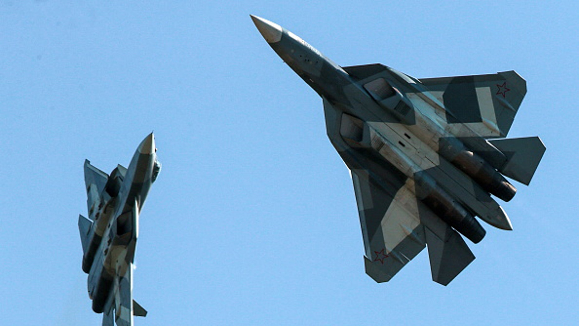 MOSCOW REGION, RUSSIA - AUGUST 12, 2017: Sukhoi Su-57 jet multirole fighter aircraft in flight during an air display event as part of the 2017 Forsazh [Forsage] aviation festival marking the 105th anniversary of the establishment of the Russian Air Force in Patriot Park. Sergei Bobylev/TASS (Photo by Sergei BobylevTASS via Getty Images)