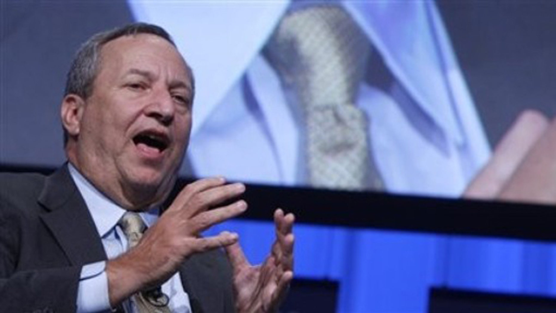 Larry Summers, director of the National Economic Council, speaks during a session 'The U.S. Economic Outlook' at the World Economic Forum in Davos, Switzerland on Jan. 29. (AP Photo)