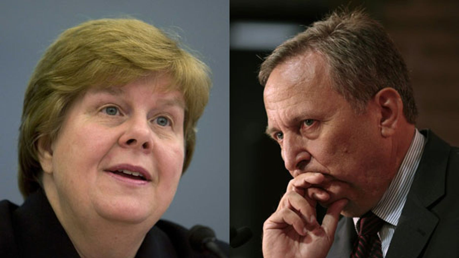 Christina Romer, chairwoman of the Council of Economic Advisers, left, and Larry Summers, director of the National Economic Council, have differing takes on whether the recession is over. (Reuters Photos)