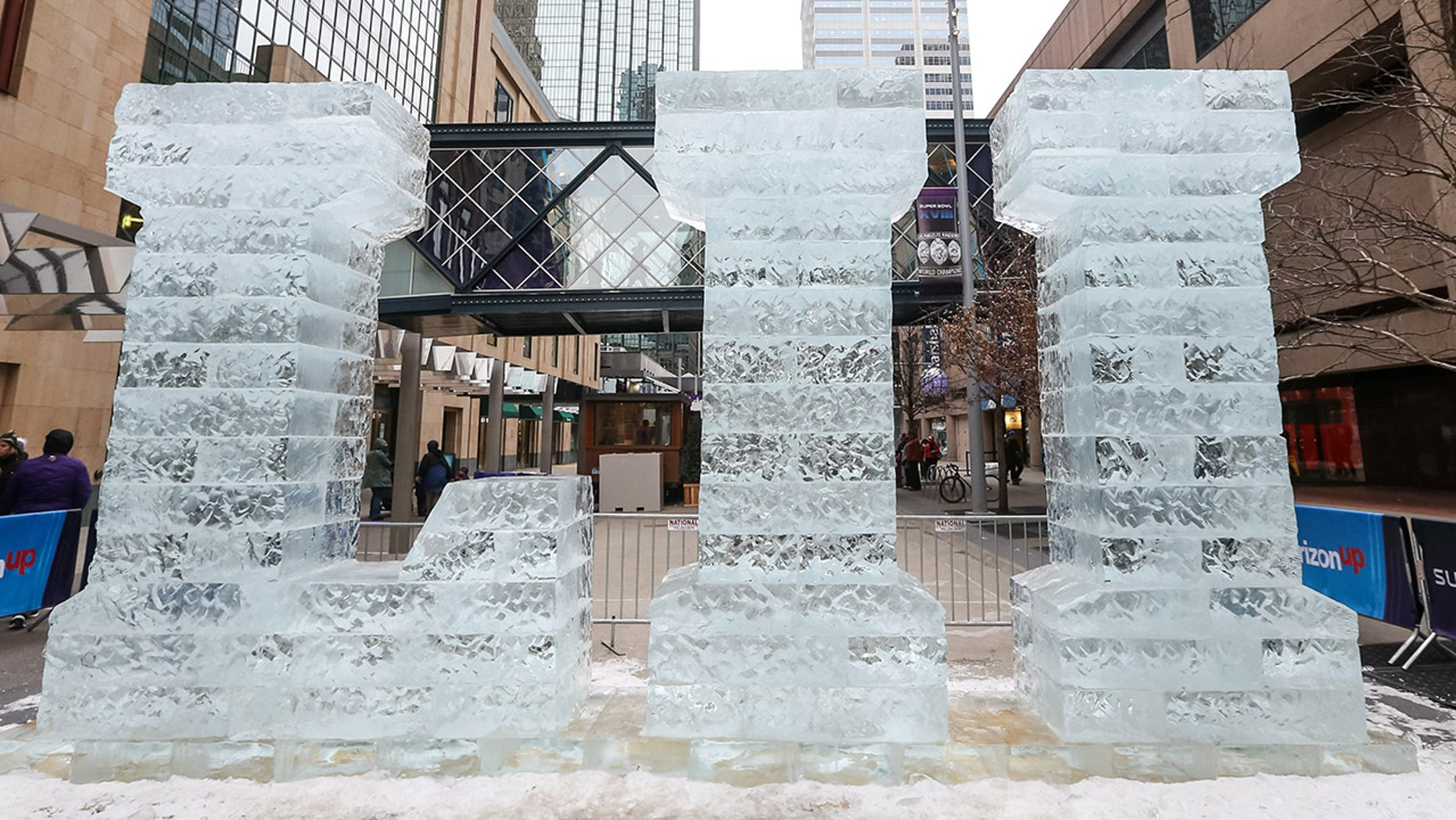A view of an ice sculpture for Super Bowl LII on Nicollet Mall at the Super Bowl Live event on Jan. 30 in Minneapolis, MN.