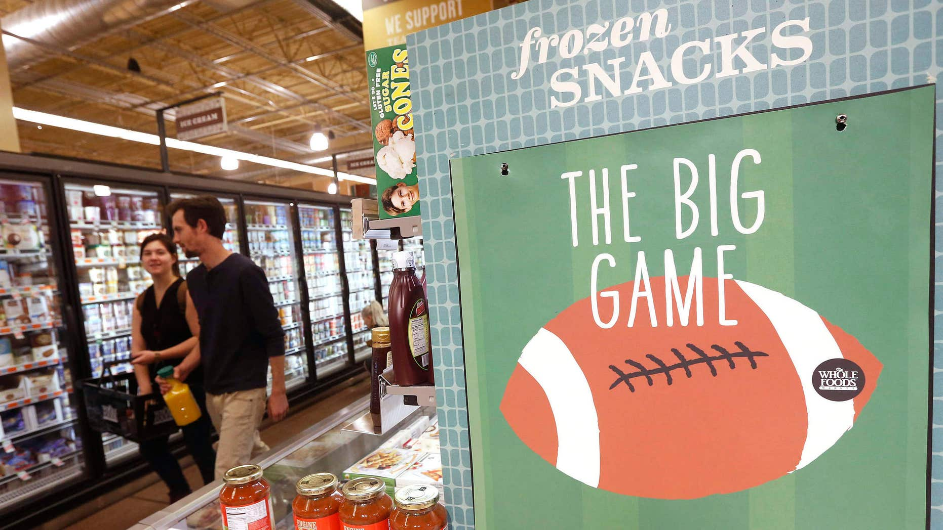 "Jan. 28, 2015: So as not to infringe on the NFL Super Bowl name trademark, all non-rights holders have to use different wording to promote any Super Bowl activity like this Whole Foods grocery store promotion on Super Bowl party foods calling it ""the big game"""