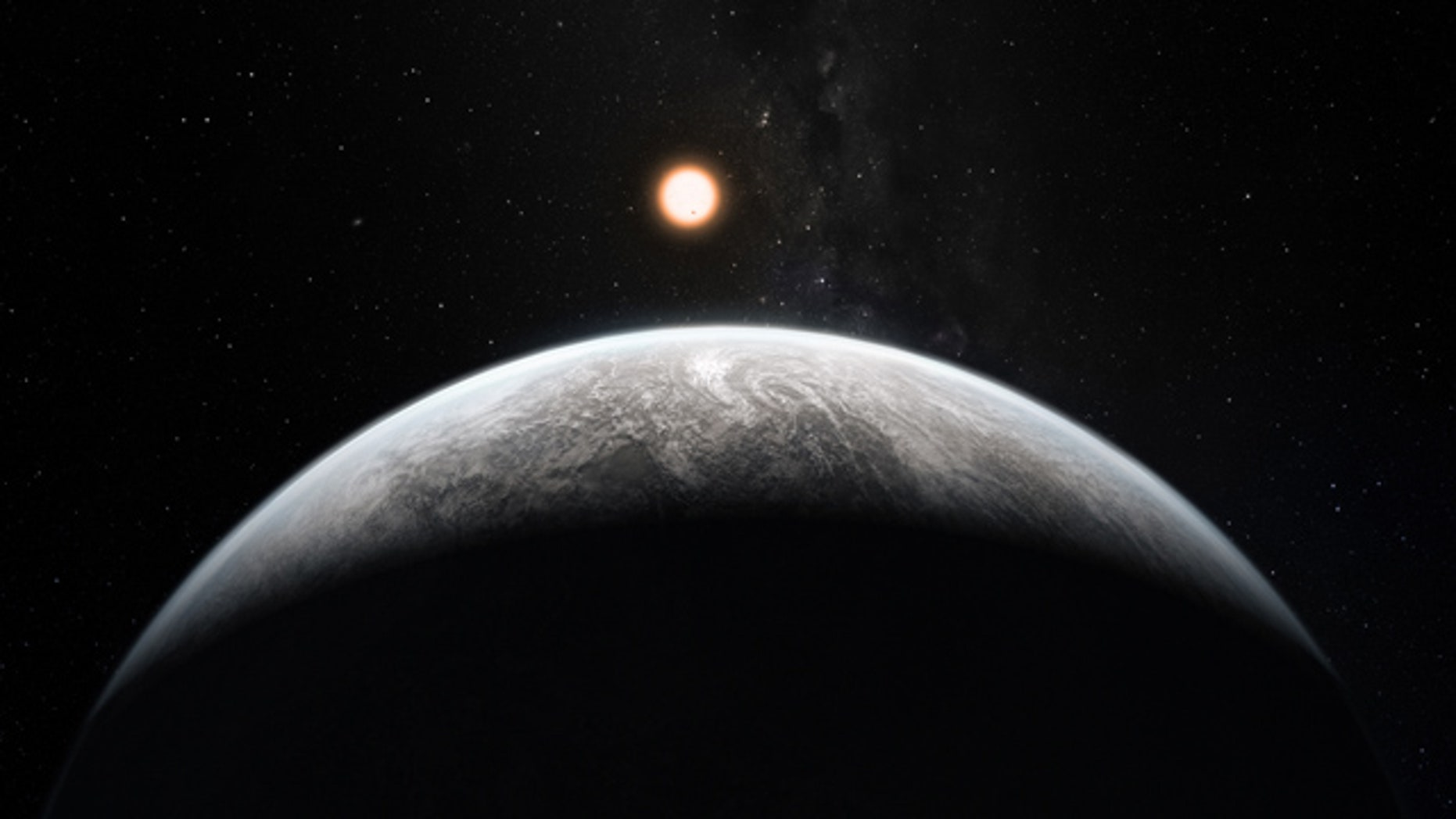 This artists impression shows the alien planet HD 85512b orbiting the Sun-like star HD 85512 in the southern constellation of Vela (The Sail). It orbits a star 35 light-years from Earth and weighs the equivalent of 3.6 Earth masses and may be in the habitable zone.