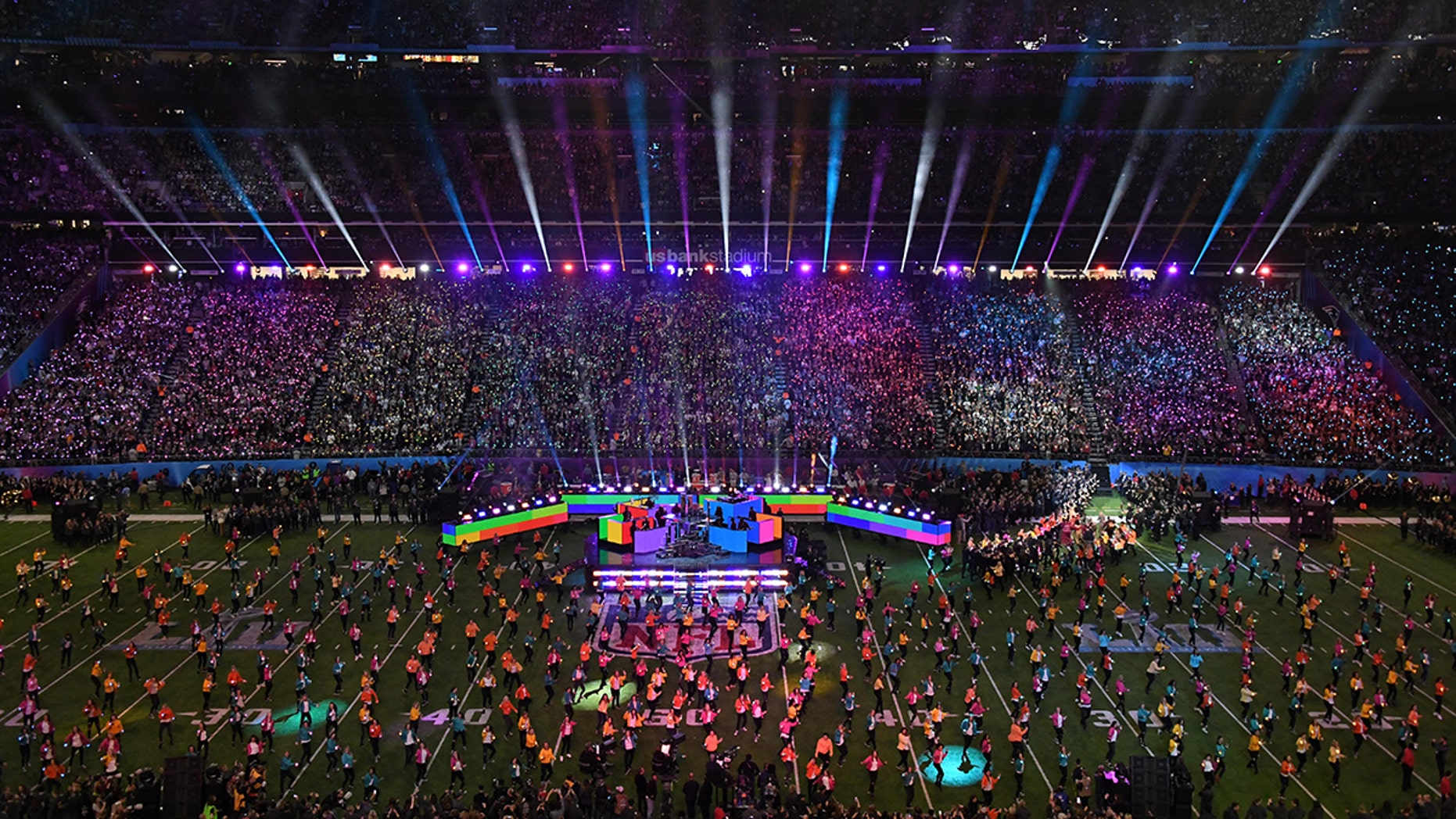 Feb 4, 2018; Minneapolis, MN, USA; Recording artist Justin Timberlake performs at halftime in Super Bowl LII between the Philadelphia Eagles and the New England Patriots at U.S. Bank Stadium. Mandatory Credit: Kirby Lee-USA TODAY Sports - 10588263