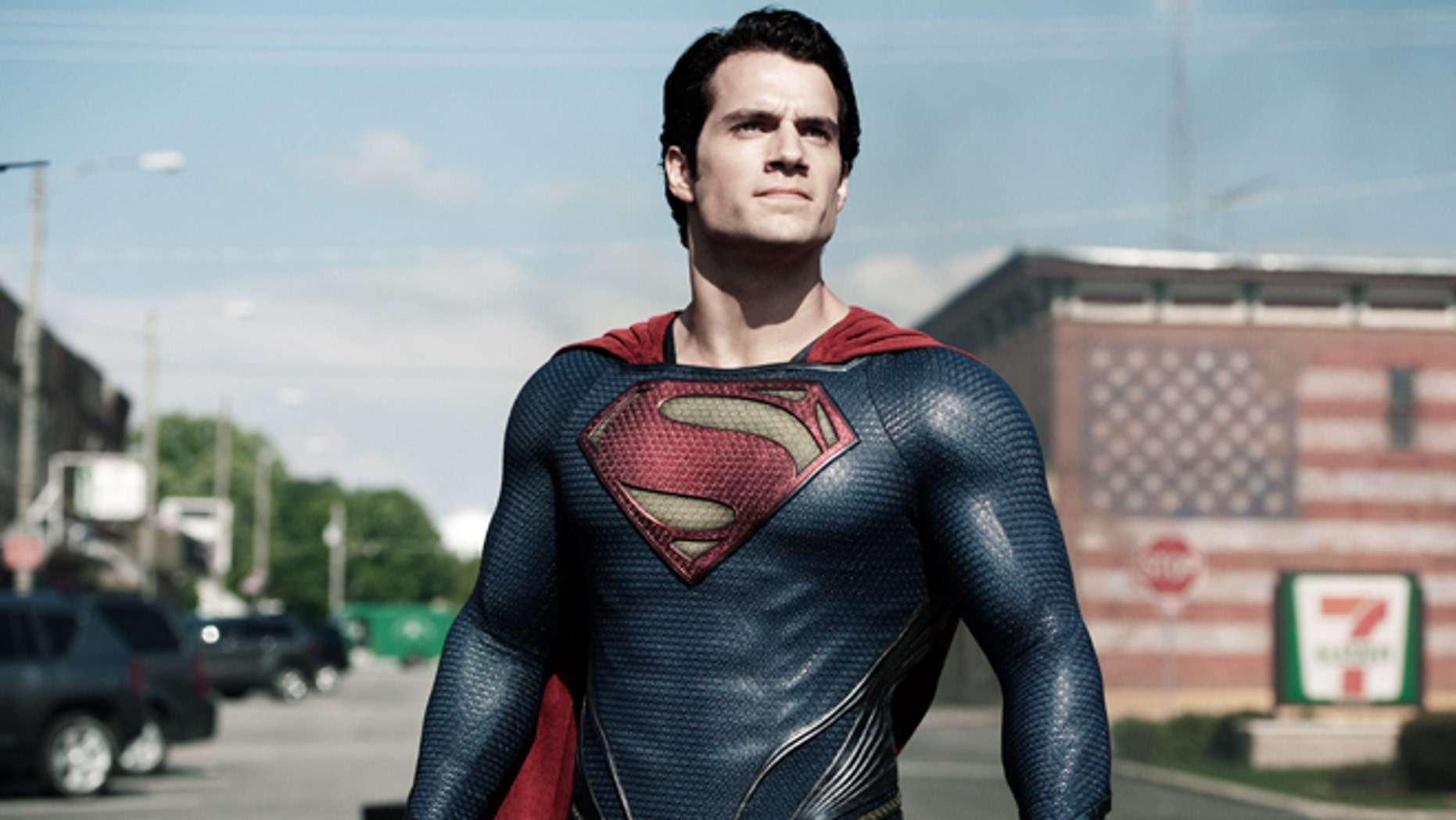 "This film publicity image released by Warner Bros. Pictures shows Henry Cavill as Superman in ""Man of Steel."""