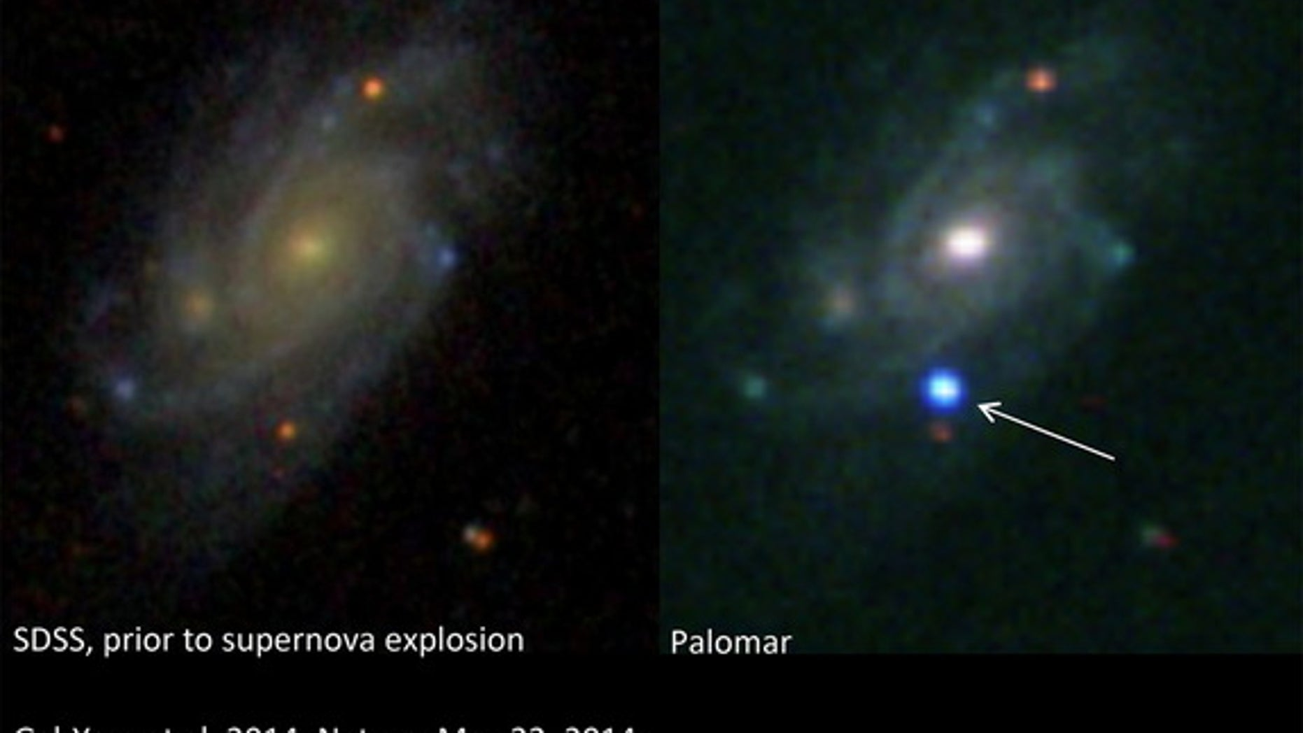 A brilliant supernova (right) explodes in the galaxy UGC 9379, located about 360 million light-years from Earth, in this before-and-after view. The left image was taken by the Sloan Digital Sky Survey, while the right image was obtained with a