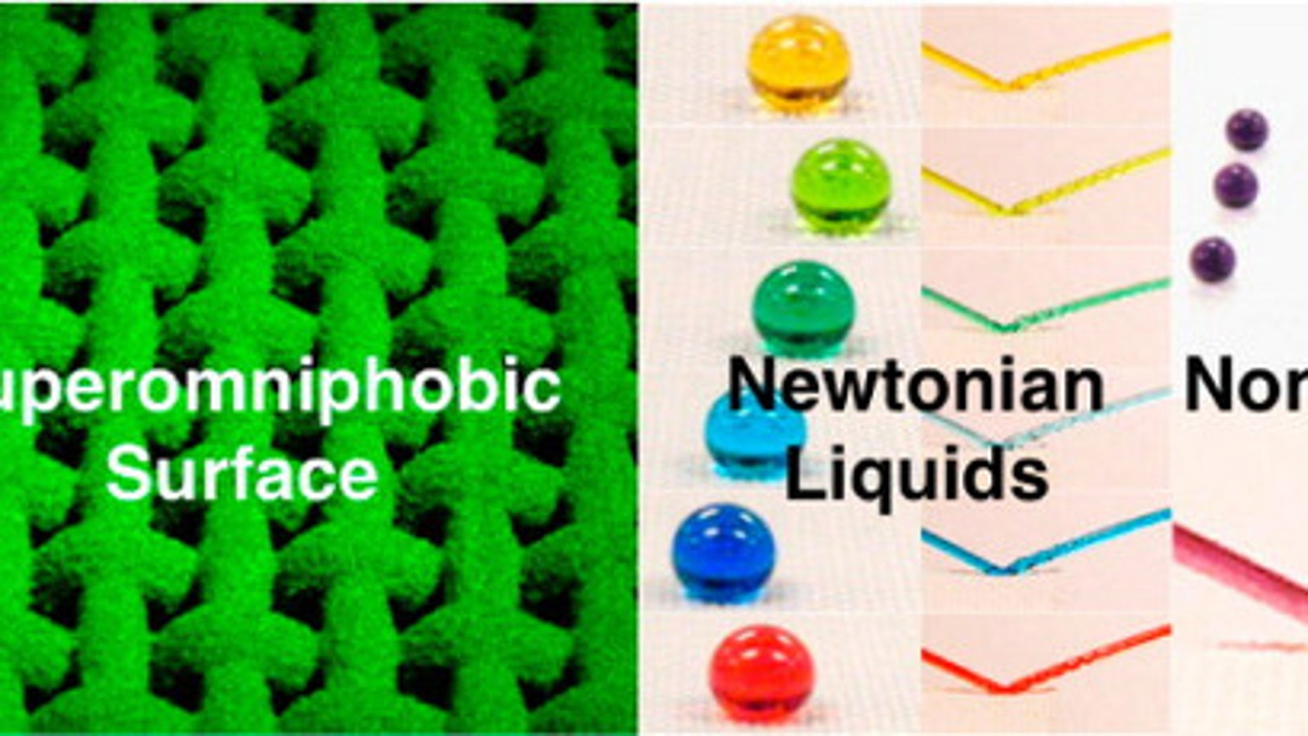 Liquids rolled or bounced off a new superomniphobic surface.