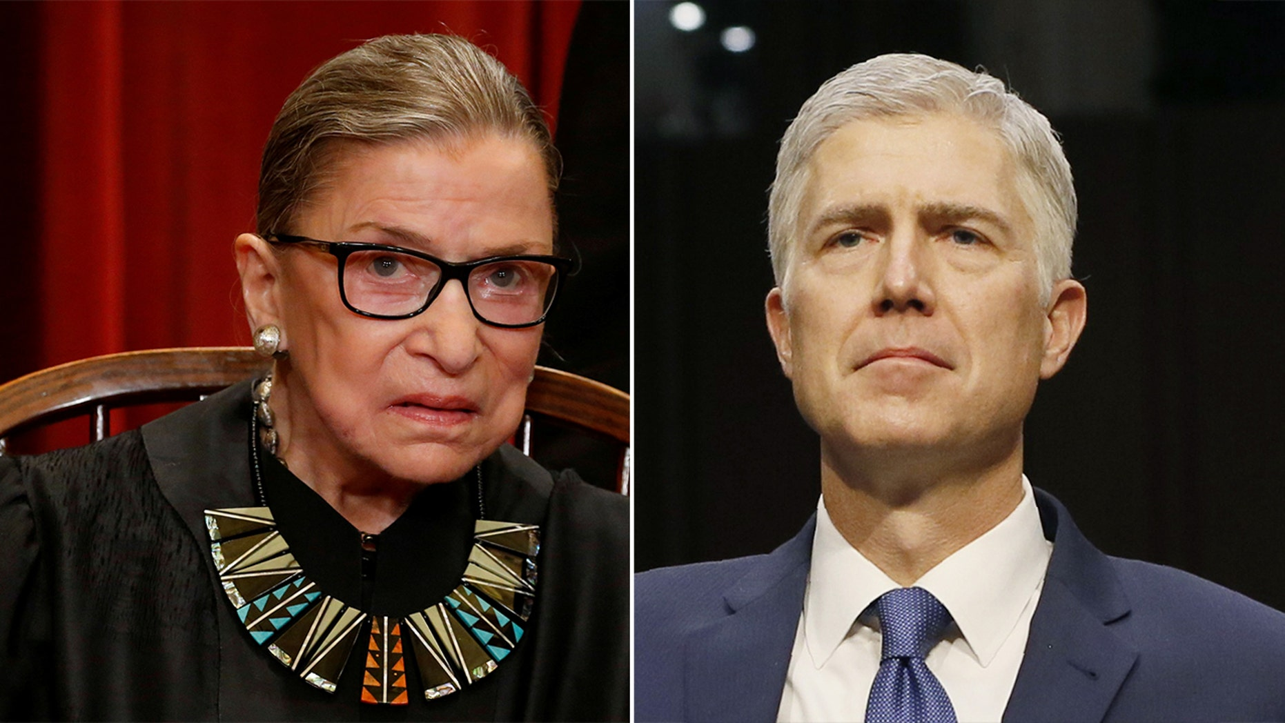 Supreme Court Justices Ruth Bader Ginsburg (left) and Neil Gorsuch