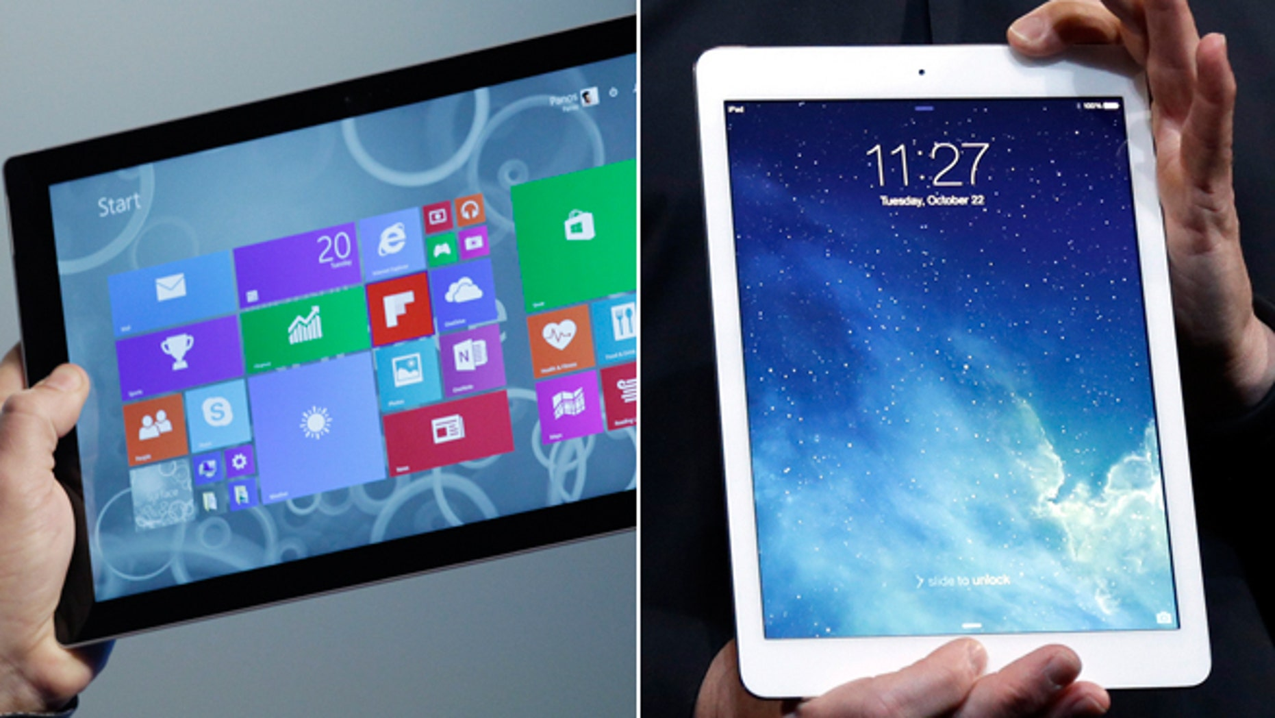Microsoft's Surface Pro 3 tablet and the iPad Air.