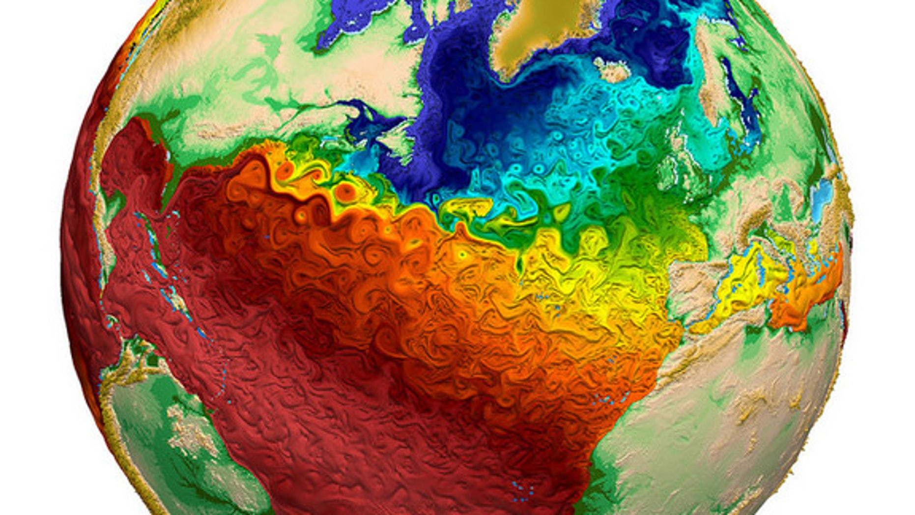 Global water surface temperatures.