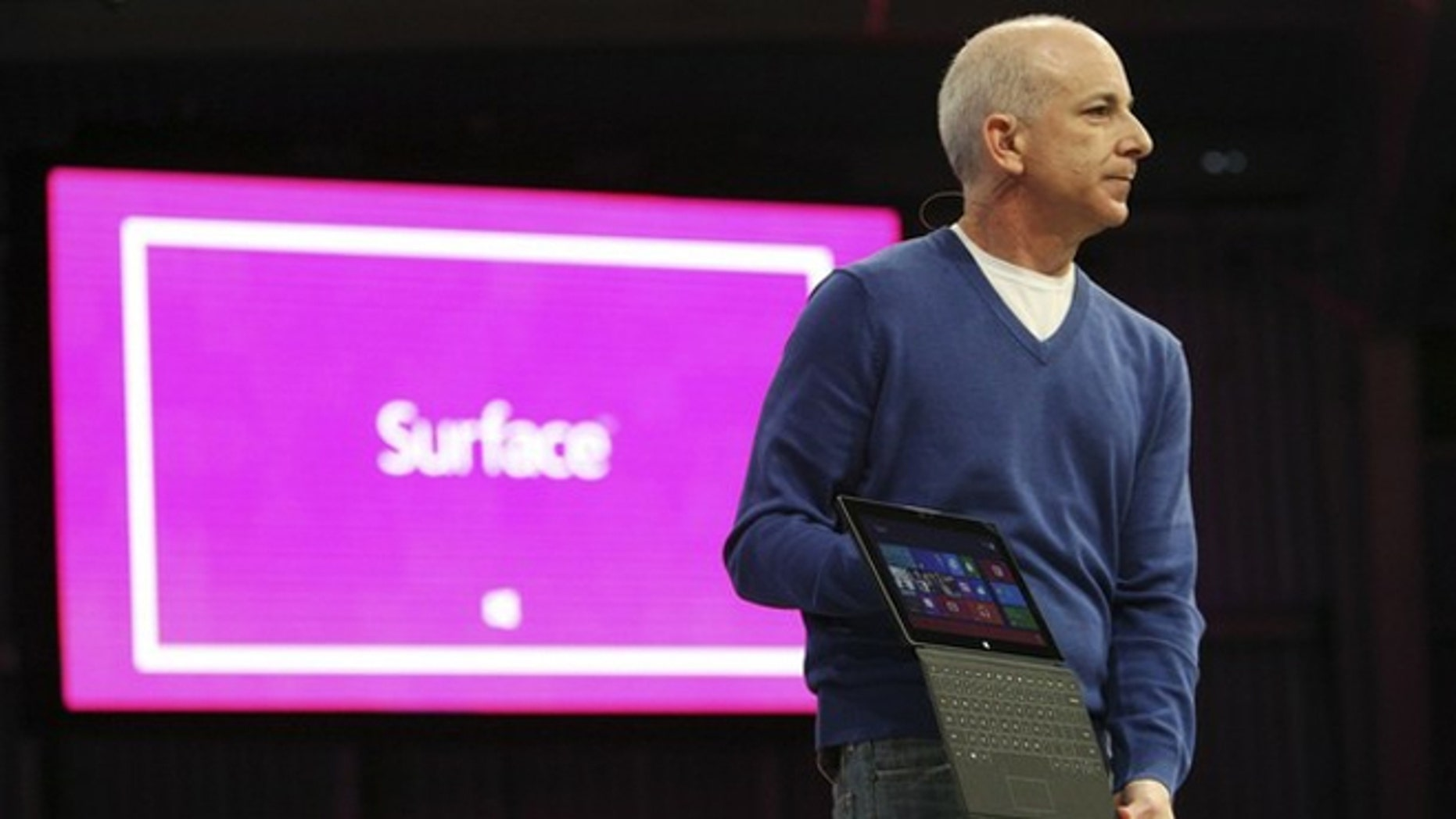 Microsoft's Steven Sinofsky introduces the company's line of tablet computers on Monday at a media event in Los Angeles, marking a major strategic shift as the software giant struggles to compete with Apple and re-invent Windows.