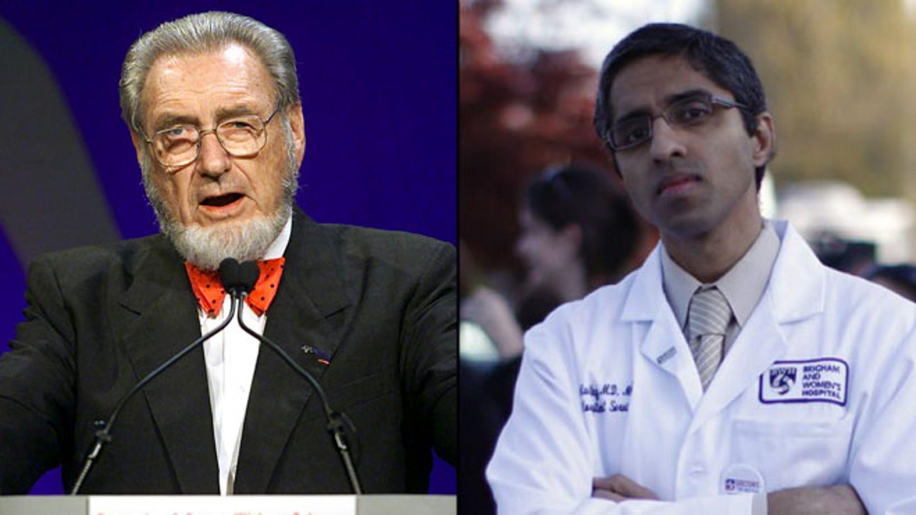 Shown here are former U.S. Surgeon General C. Everett Koop, left, and surgeon general nominee Vivek Murthy.