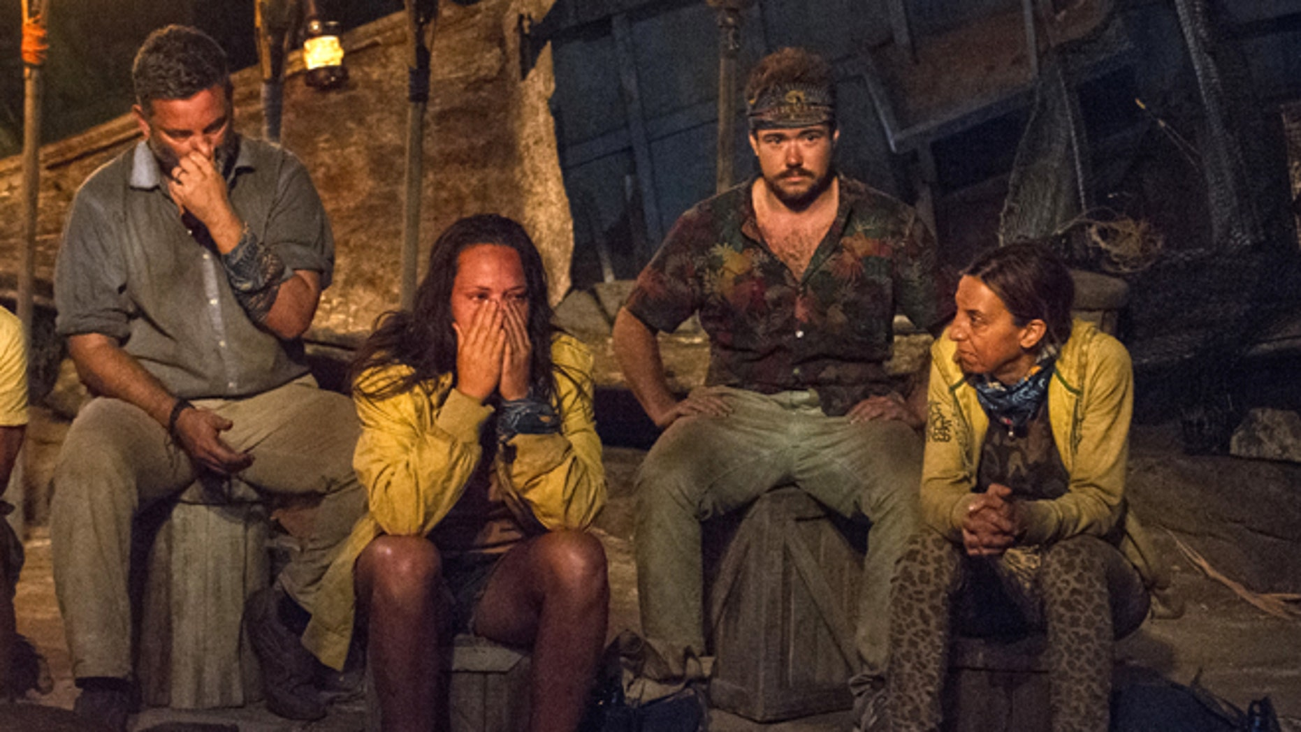 "Jeff Varner (left) has lost his job for outing Zeke Smith (third from left) as transgender on the reality show ""Survivor."""