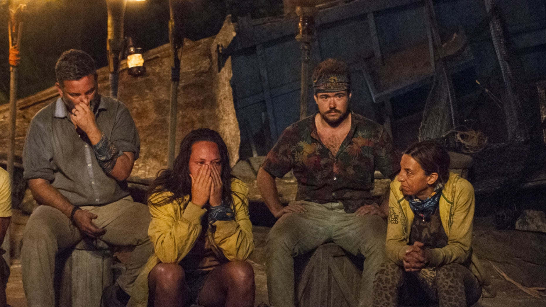 """From l-r: Jeff Varner, Sarah Lacina, Zeke Smith and Debbie Wanner at Tribal Council on CBS' """"Survivor."""""""