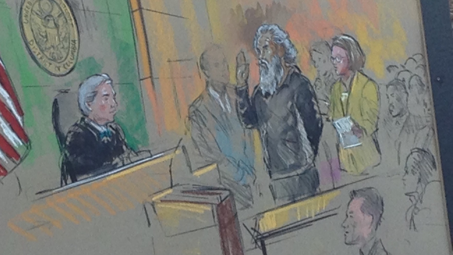 This courtroom sketch shows Benghazi terror suspect Ahmed Abu Khatallah.