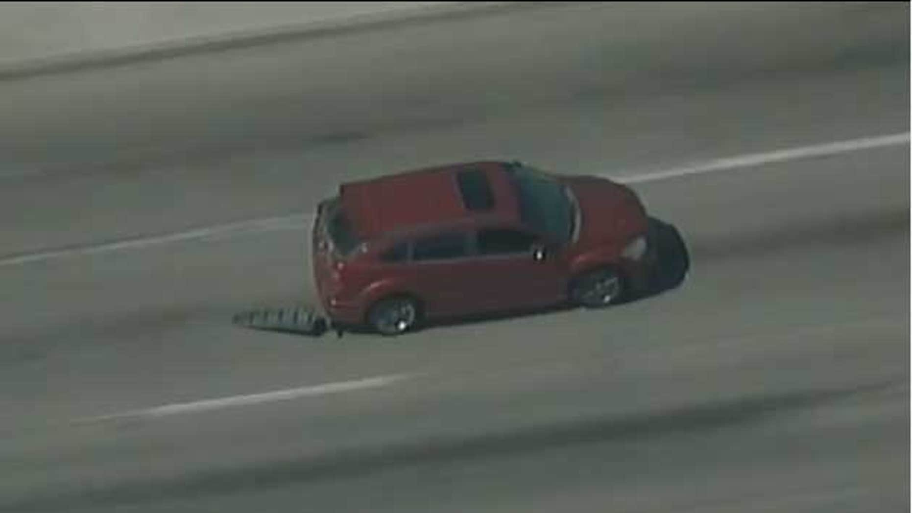 This photo shows the suspect leading police on a high speed chase in a stolen car.