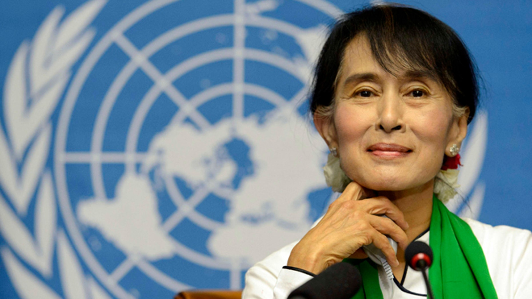 June 14, 2012: Myanmar opposition leader Aung San Suu Kyi attends a news conference during the annual meeting of the International Labour Organization (ILO) in Geneva, Switzerland.