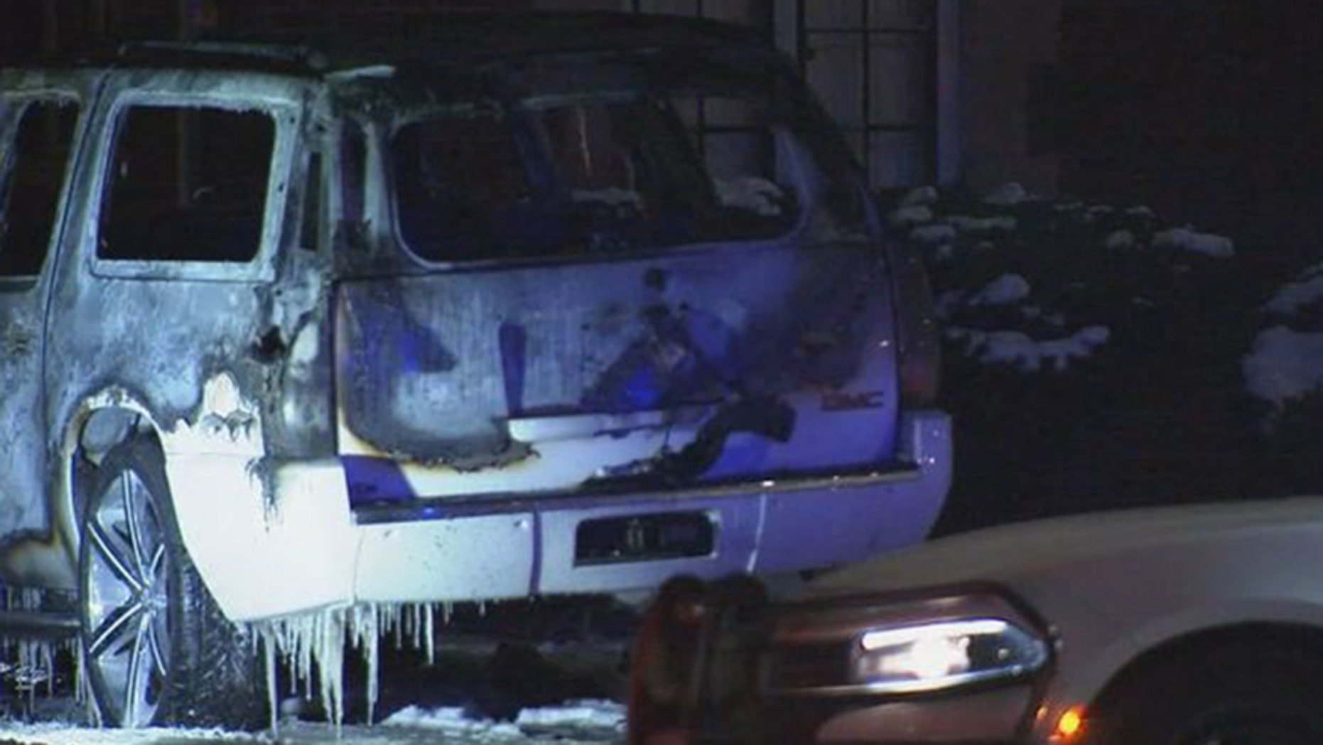 A burning SUV with a body inside was found early Wednesday morning in Detroit.