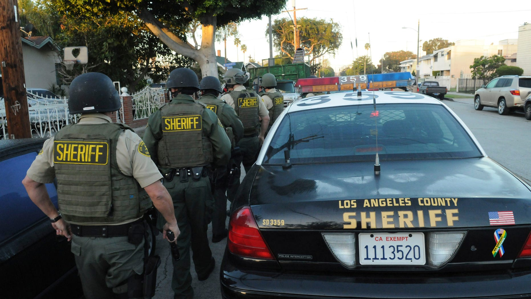 """FILE: Feb. 9, 2011: The Los Angeles County Sheriff's Department --which supports California lawmakers' efforts to stop 'swatting"""" -- prepares to serve search warrants in Los Angeles, Calif."""