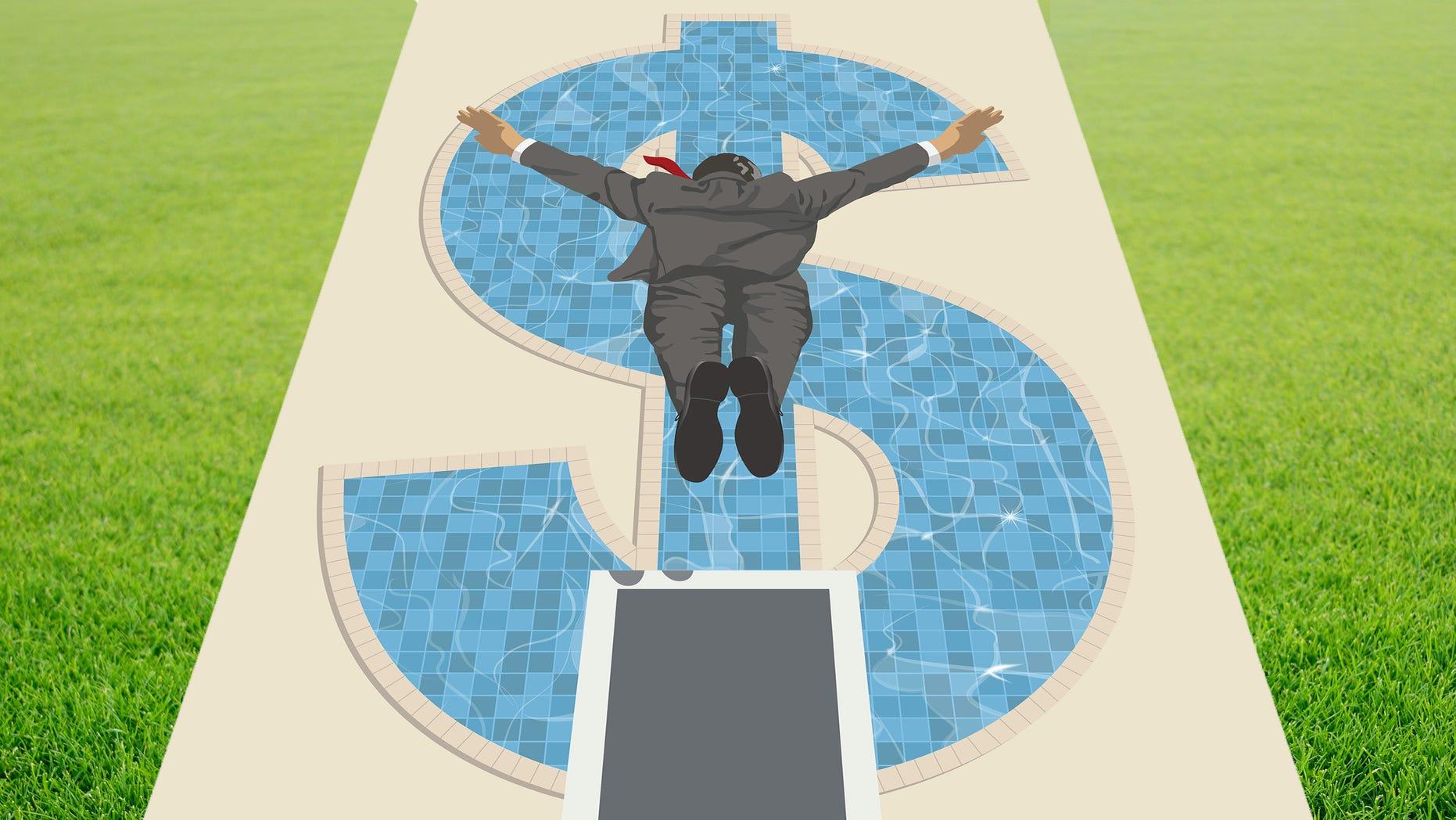 man diving into dollar-shaped swimming pool