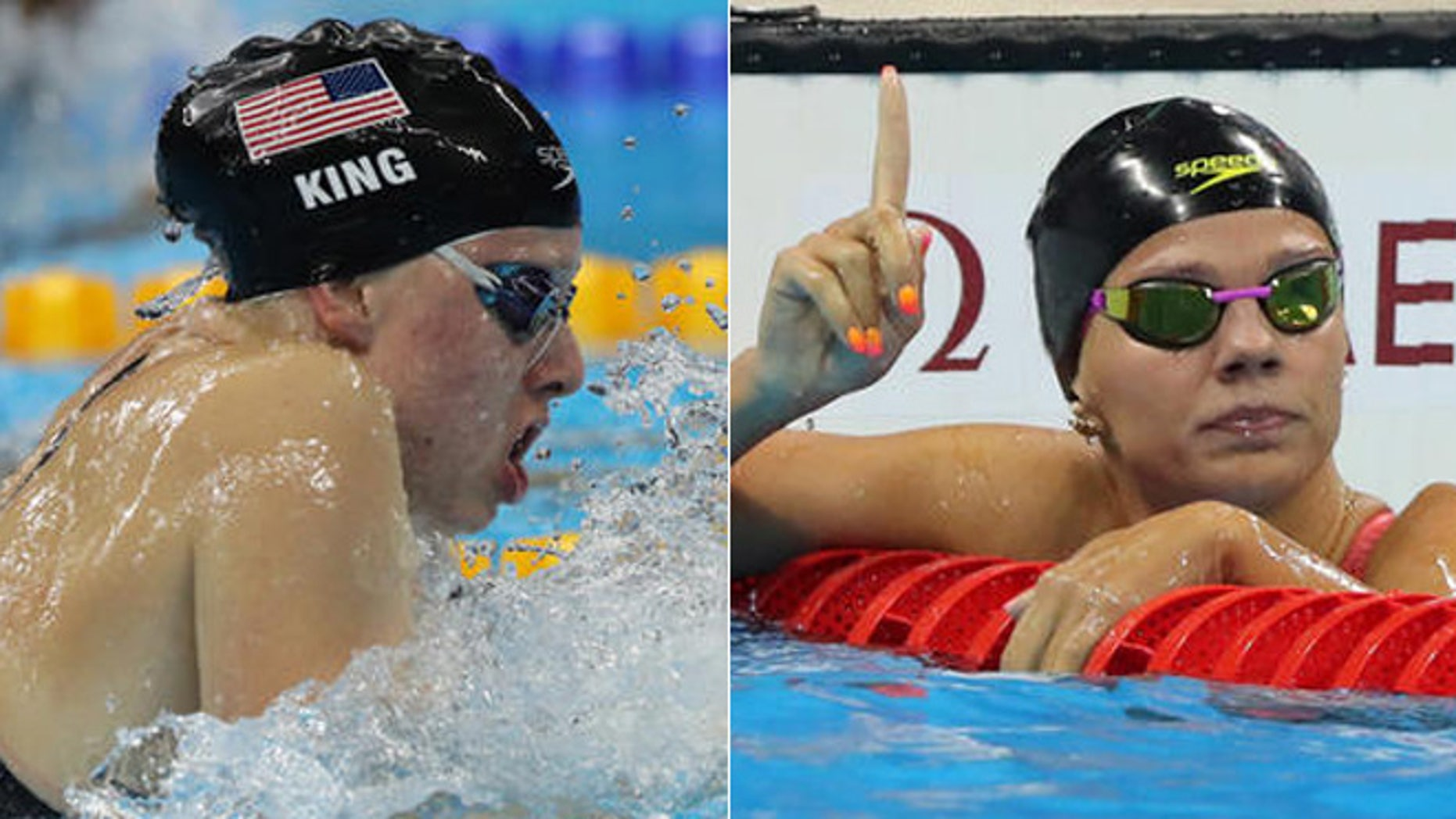 United States' Lilly King (left) competes in a semifinal of the women's 100-meter breaststroke during 2016 Summer Olympics, Russia's Yulia Efimova (right) celebrates winning a semifinal of the women's 100-meter breaststroke.