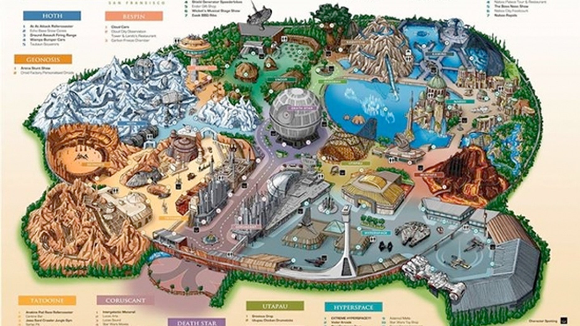 "An artist's rendering of the promised theme park might look like this, complete with various ""lands"" ripped from our favorite ""Star Wars"" movies."