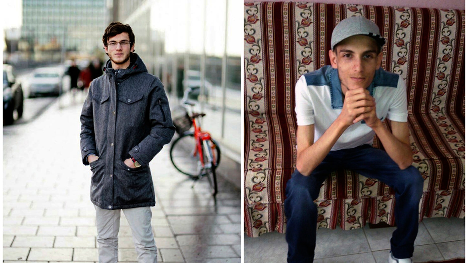 """In this combination of two photos of Omar Alshogre, a 21-year Syrian former detainee, now living in Stockholm, Sweden. The left picture is of Alshogre taken on January 2017 in Stockholm, Sweden. The right picture is of Alshogre in July 2015 in Antakya, Turkey, a month after he got out of Syria's Saydnaya prison, near Damascus. While in detention, Alshogre said he heard men escorted to be hanged and had himself been called for """"execution"""" but was spared after a brief trial."""
