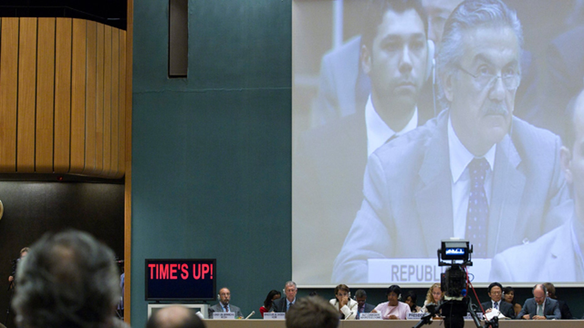 Aug. 22: Faysal Khabbaz Hamoui, Ambassador of the Permanent Representative Mission of Syrian Arab Republic to Geneva, speaks during the Human Rights Council special session on the situation of human rights in the Syrian Arab Republic at the European headquarters of the United Nations in Geneva, Switzerland.
