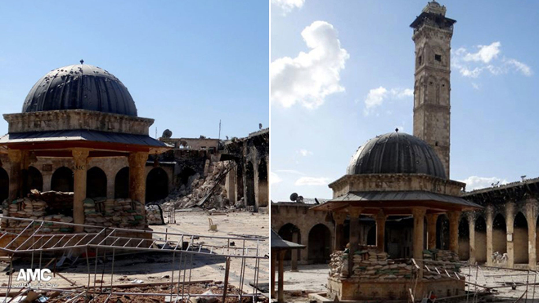 This combination of two citizen journalist images provided by Aleppo Media Center AMC which has been authenticated based on its contents and other AP reporting, shows at left: the damaged famed 12th century Umayyad mosque without the minaret, background right corner, which was destroyed by the shelling, in the northern city of Aleppo, Syria, Wednesday April 24, 2013; and at right, an undated view of the mosque with is minaret still intact.