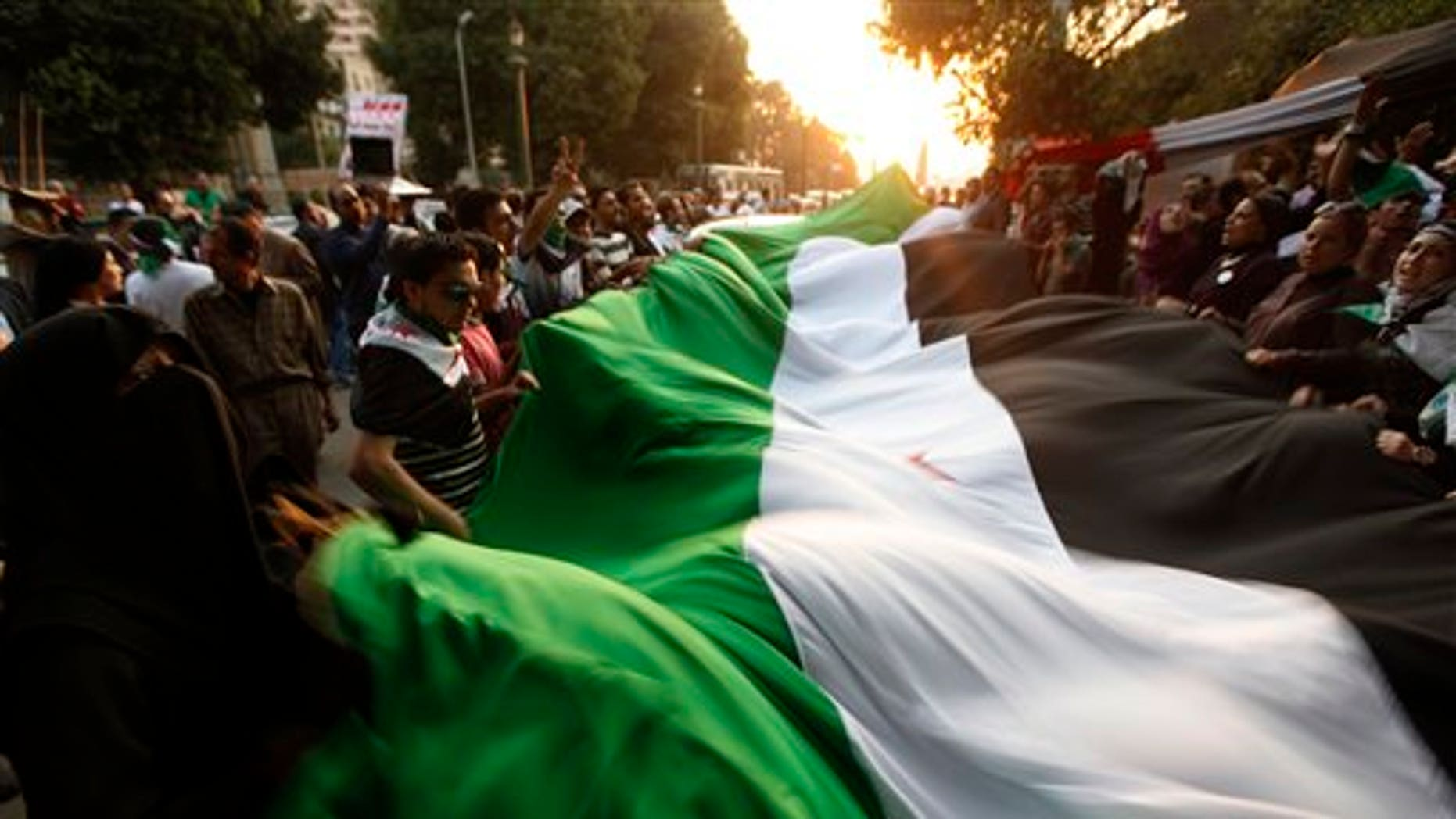 Nov. 2, 2011: Protesters wave a big syrian flag during their anti-Syrian regime protest in front of the Arab league headquarters in Cairo, Egypt. Over 100 people protested outside the Arab League's Cairo headquarters where foreign ministers met Wednesday, waving the tri-colored Syrian flag and chanting slogans against Assad.