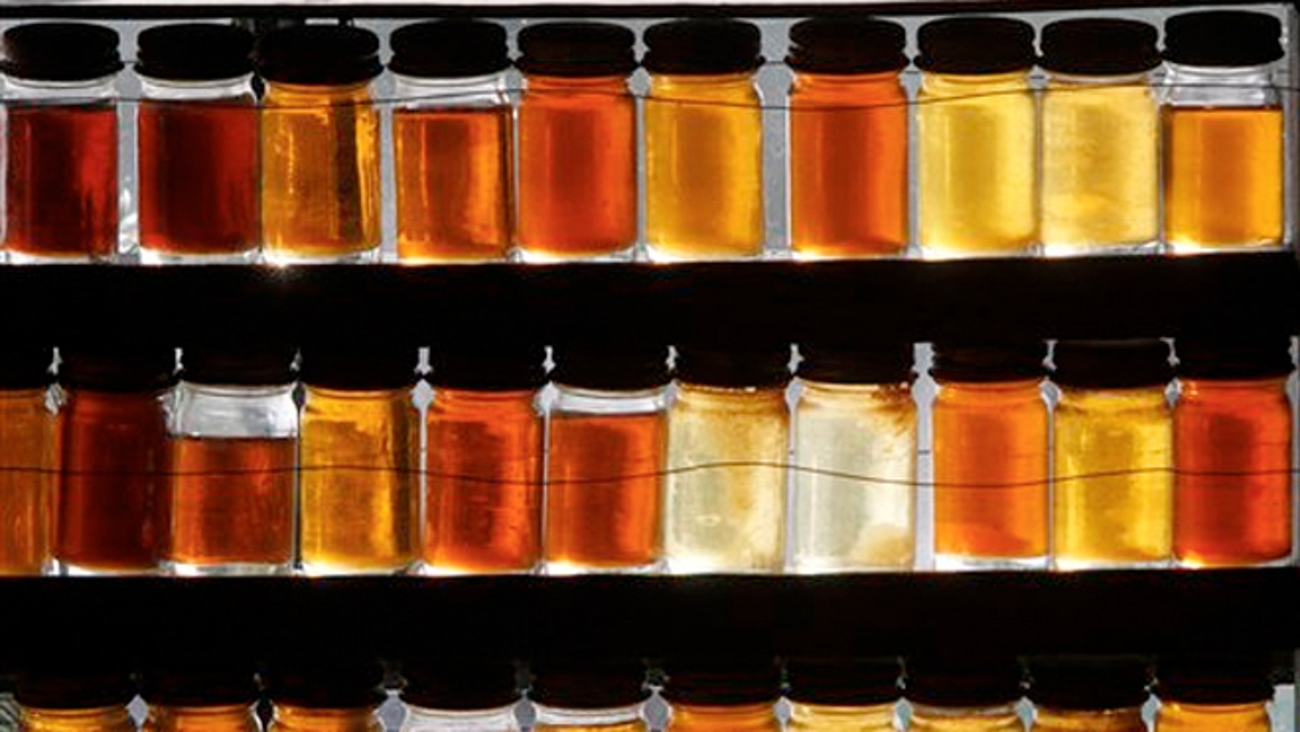 Eighteen different grades of maple syrup are displayed in East Montpelier, Vt. as the state's lawmakers are considering whether to drop the state's traditional maple labeling system in favor of an international one.