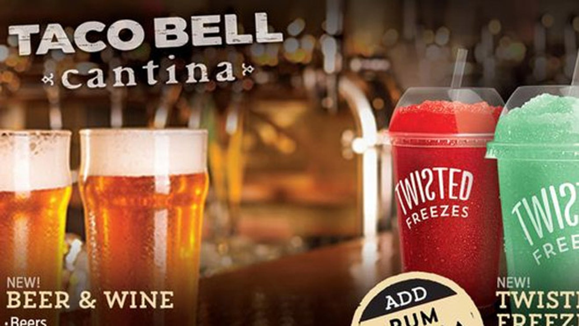Beer and frozen mixed drinks will be on tap at Taco Bell in Chicago.