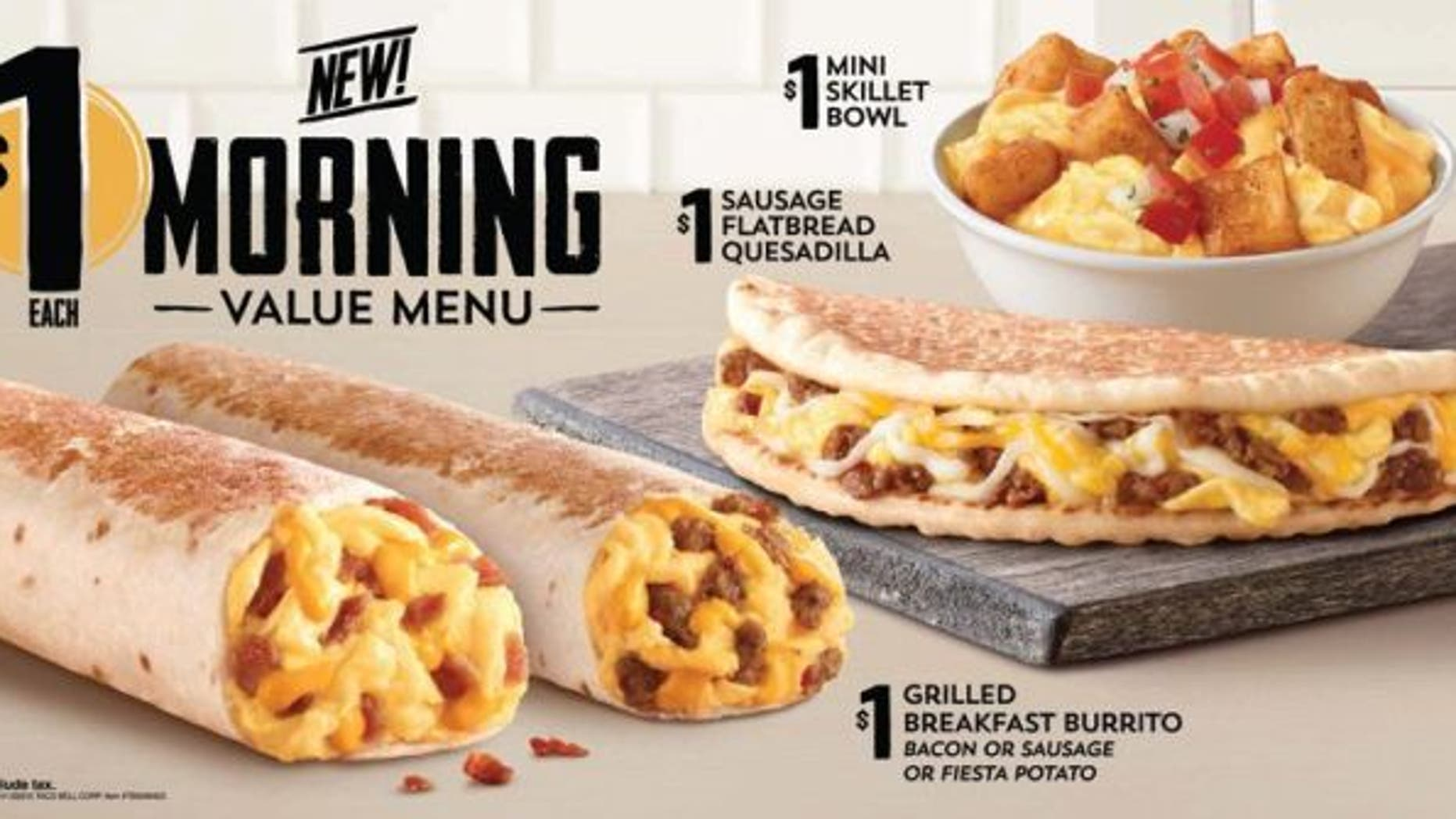 Taco Bell's new dollar menu features a slew of hearty breakfast items.