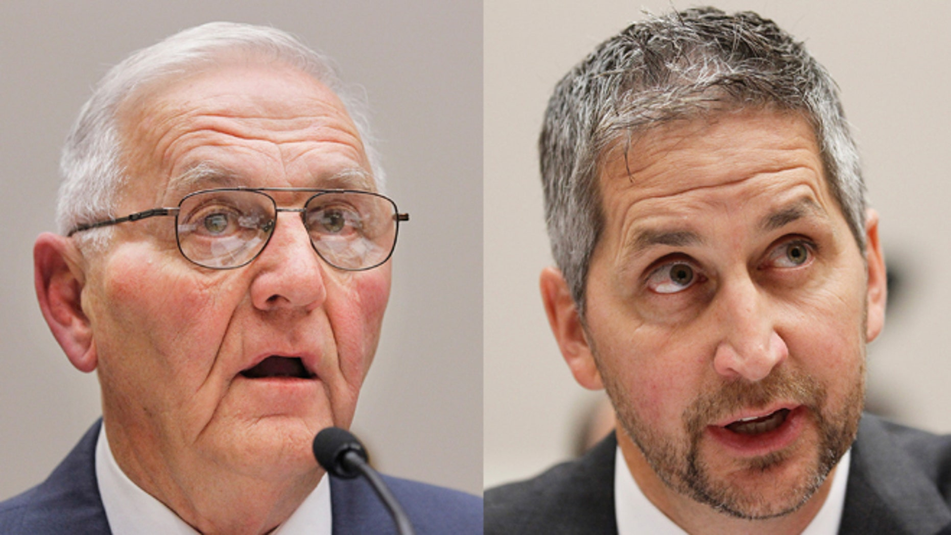 This Sept. 22, 2010 combination of file photos shows Quality Egg LLC owner Austin Jack DeCoster, left, and its chief operating officer, Peter DeCoster on Capitol Hill in Washington. (AP)