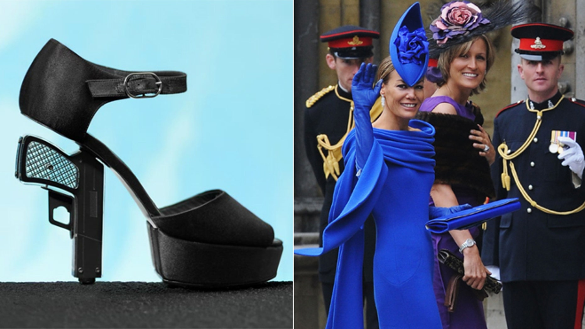 Chanel shoes, left. Tara Palmer Tomkinson attends the wedding of Britain's Prince William and Kate Middleton, in central London April 29, 2011.