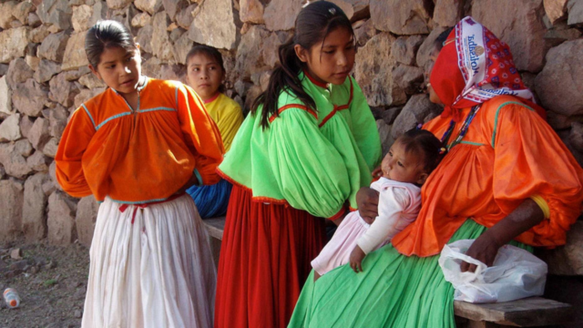 Tarahumara children with Elvira; La Bufa, Chihuahua, Mexico