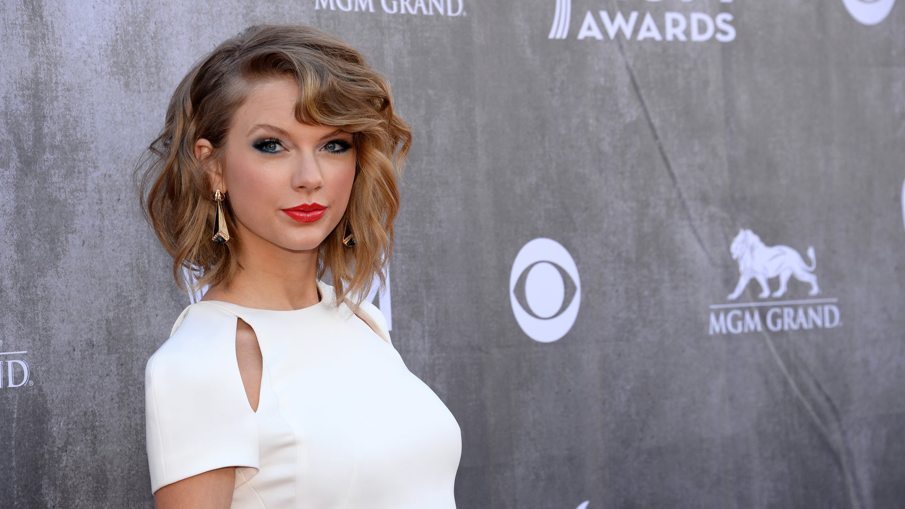April 6, 2014. Taylor Swift arrives at the 49th annual Academy of Country Music Awards at the MGM Grand Garden Arena in Las Vegas.