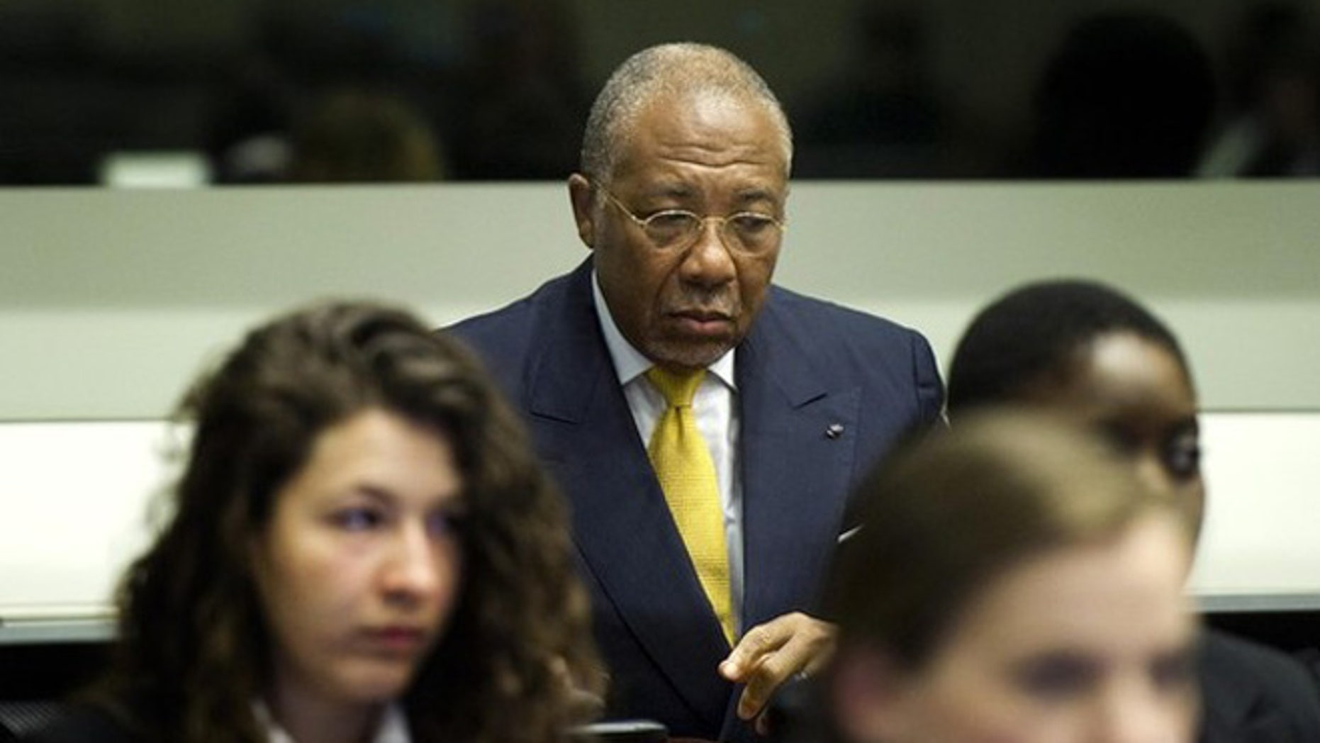May 30, 2012: Former Liberian President Charles Taylor listens to the judge at the opening of the sentencing hearing near The Hague.