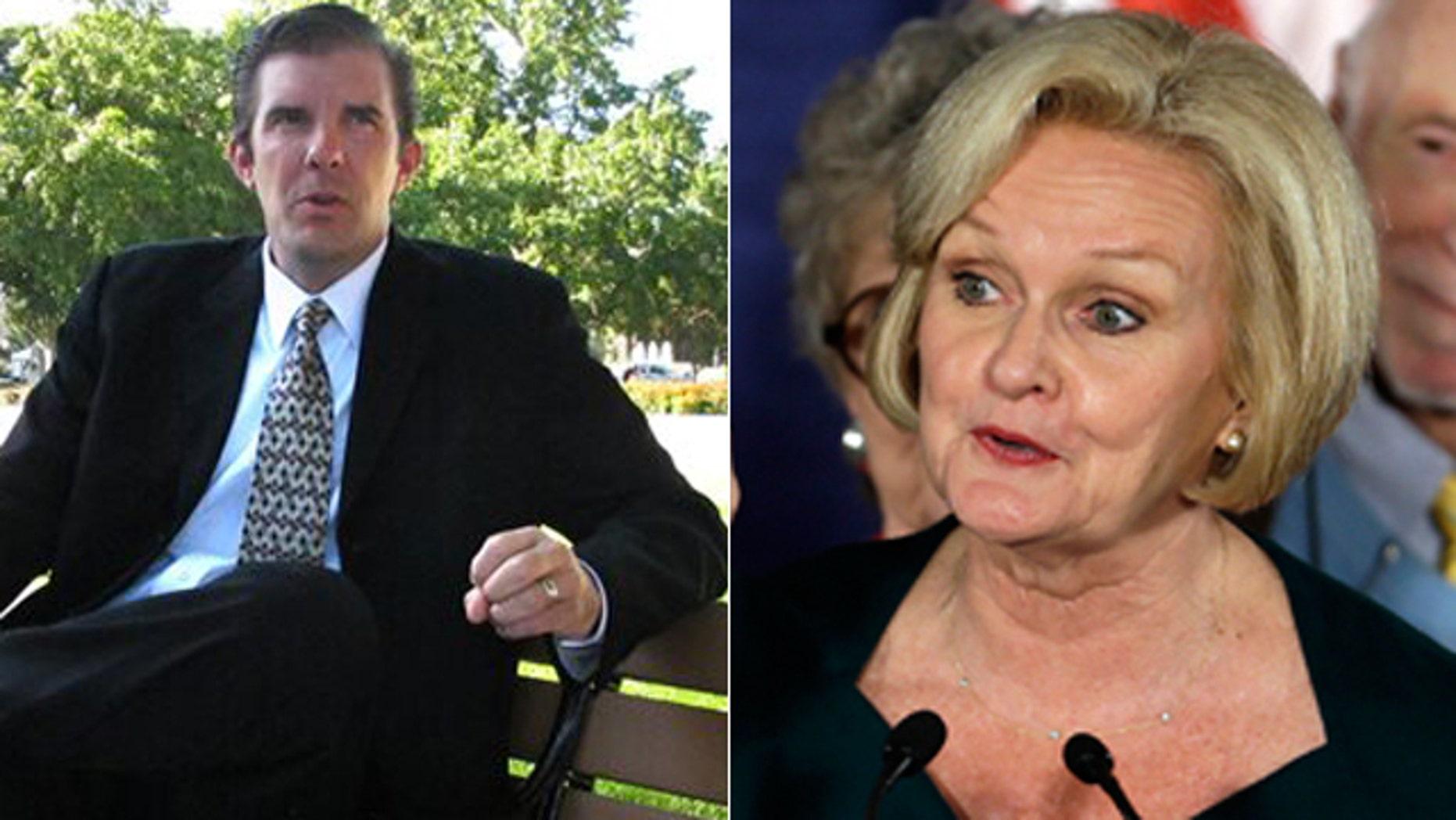 Chad Taylor, left, and Democratic Sen. Claire McCaskill.