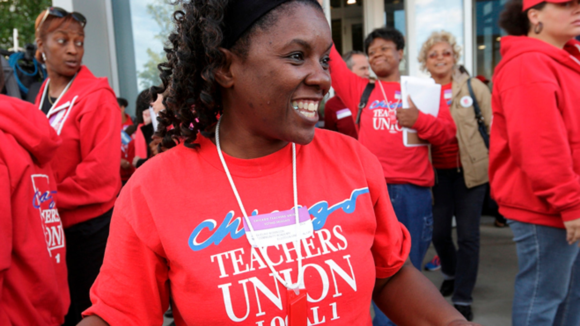 FILE: September 18, 2012: A member of the Chicago Teachers Union, in Chicago, Ill.