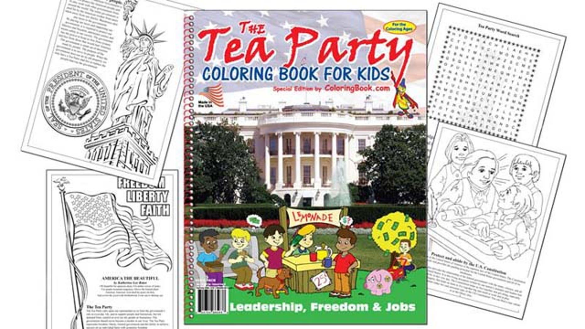 """The Tea Party Coloring Book"" is available for $3.59 from Clayton, Mo.-based Really Big Coloring Books, Inc."