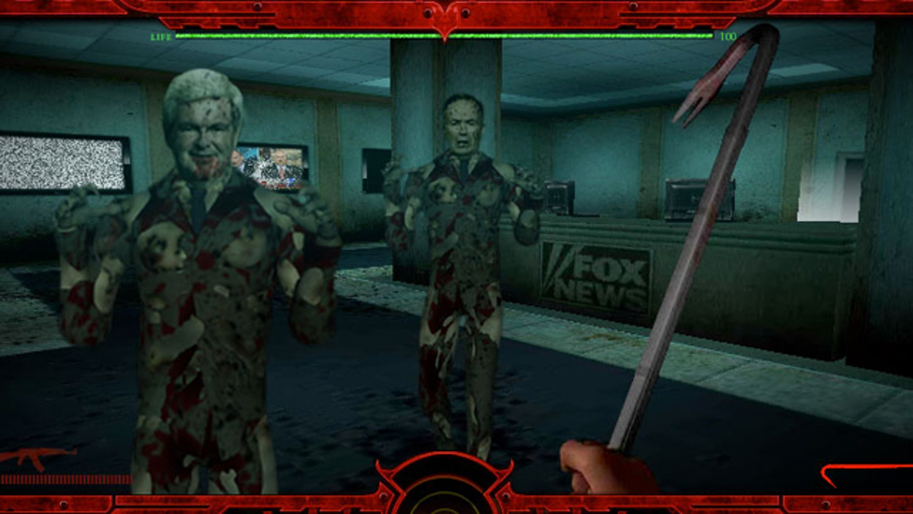 "A screengrab of ""Tea Party Zombies Must Die"" depicts former U.S. Speaker of the House Newt Gingrich, left, and Fox News' Bill O'Reilly. The game is billed as ""first-person shooter"" featuring multiple firearms and a crowbar."
