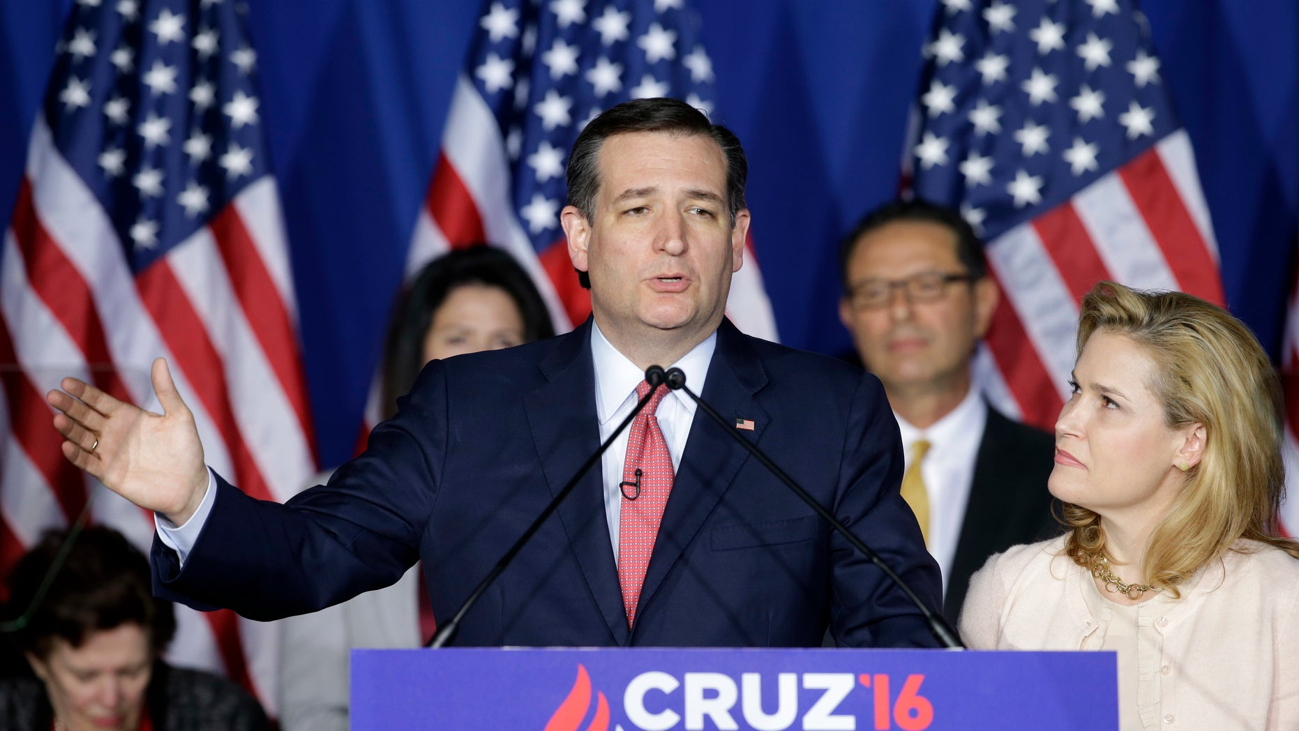 Republican presidential candidate, Sen. Ted Cruz, R-Texas, speaks as his wife, Heidi, listens during a primary night campaign event, Tuesday, May 3, 2016, in Indianapolis. Cruz ended his presidential campaign, eliminating the biggest impediment to Donald Trump's march to the Republican nomination. (AP Photo/Darron Cummings)