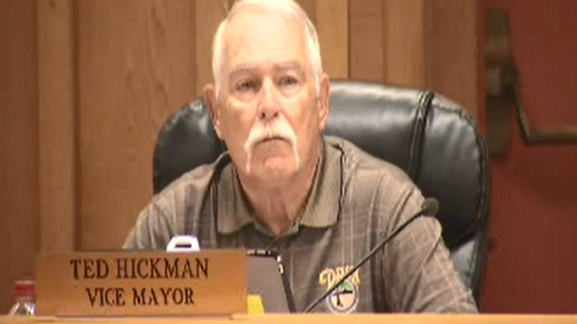 Ted Hickman, 74, vice mayor of Dixon, Calif., attended a city council meeting Tuesday where protesters called for his resignation after a newspaper column he wrote drew negative reactions.