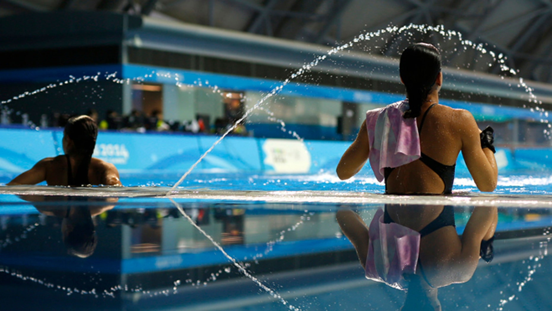 Aug. 25, 2014: Athletes participate in a training session at the 2014 Nanjing Youth Olympic Games in Nanjing, Jiangsu province.