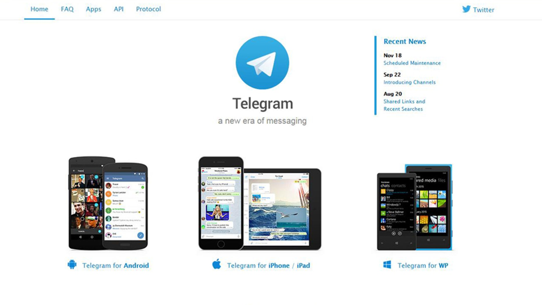 (Screenshot from www.telegram.org)