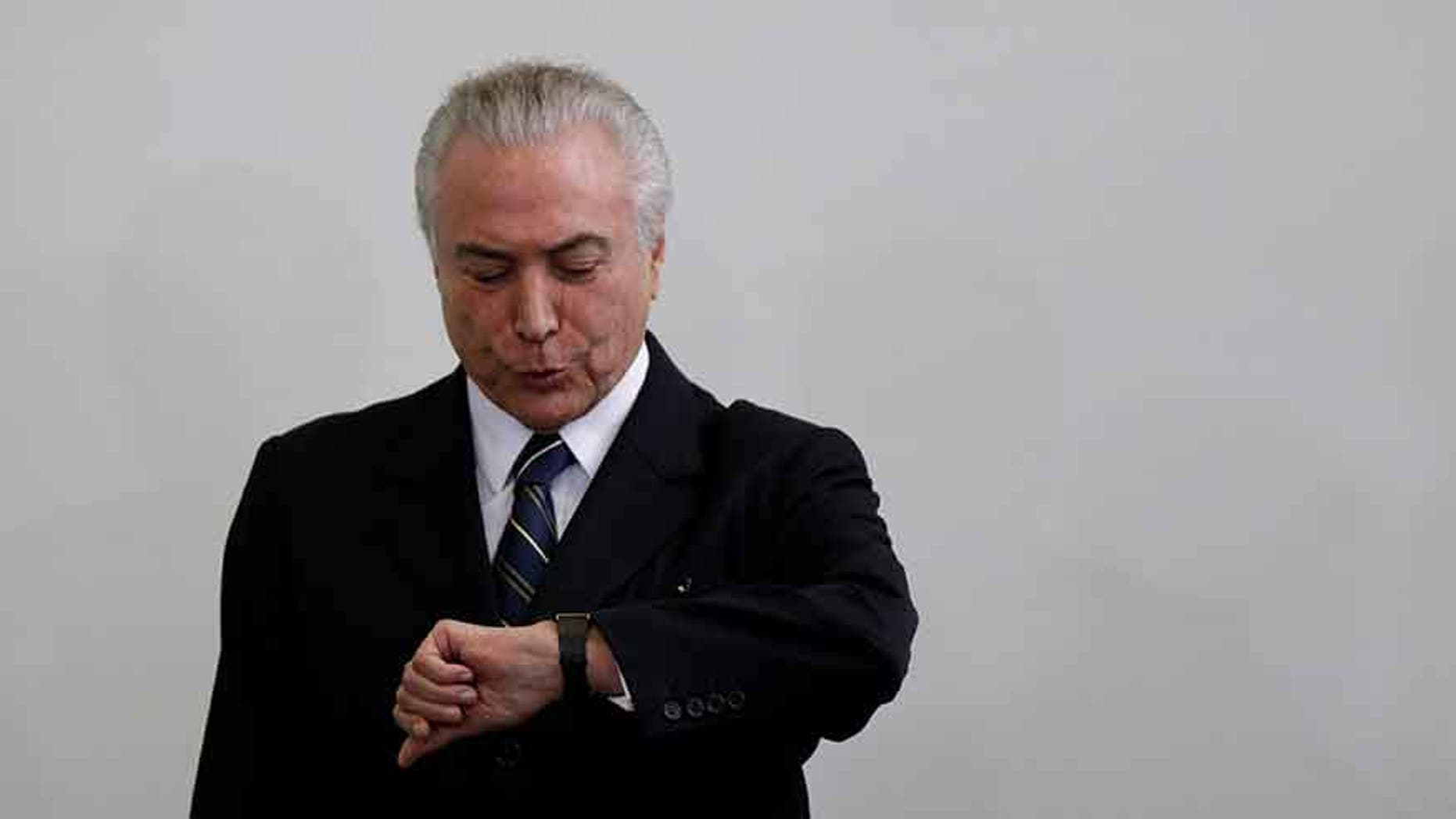 Brazil's President Michel Temer at the Planalto Palace in Brasilia, Brazil May 12, 2017.