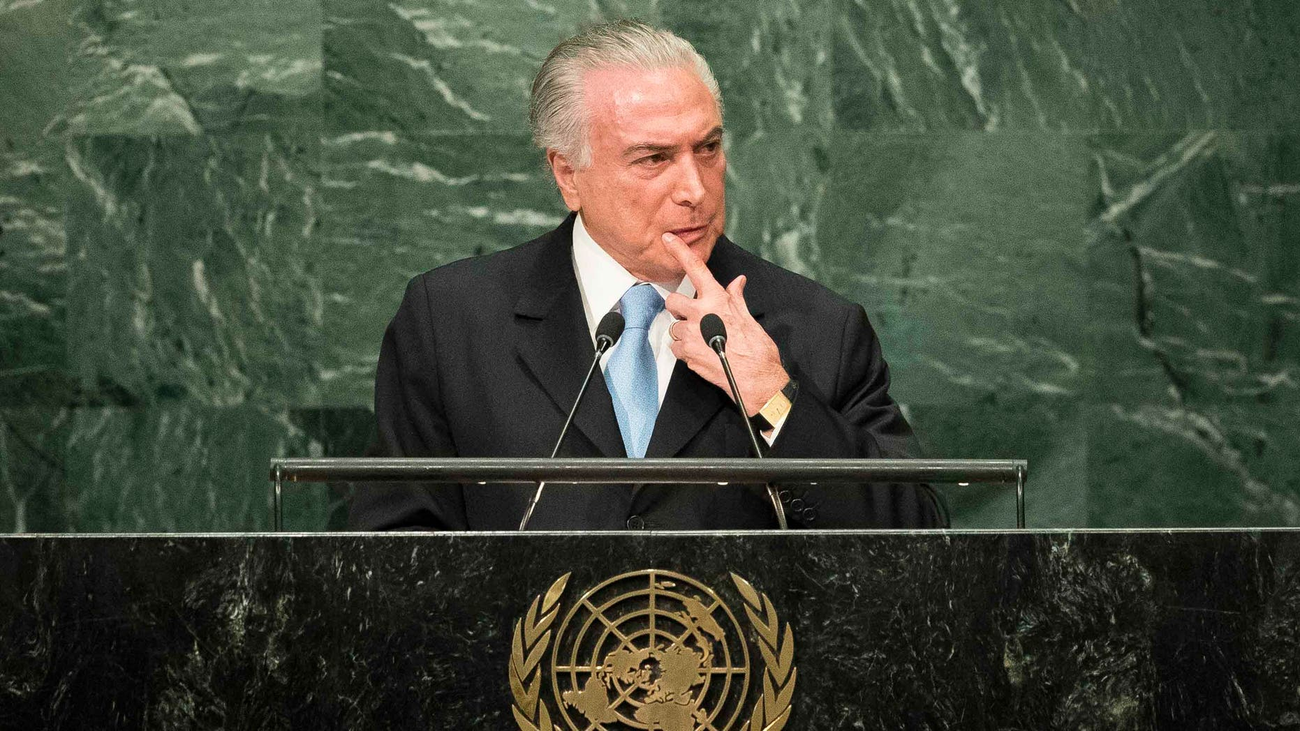NEW YORK, NEW YORK - SEPTEMBER 20: President of Brazil Michel Temer addresses the United Nations General Assembly at UN headquarters, September 20, 2016 in New York City. According to the UN Secretary-General Ban ki-Moon, the most pressing matter to be discussed at the General Assembly is the world's refugee crisis. (Photo by Drew Angerer/Getty Images)