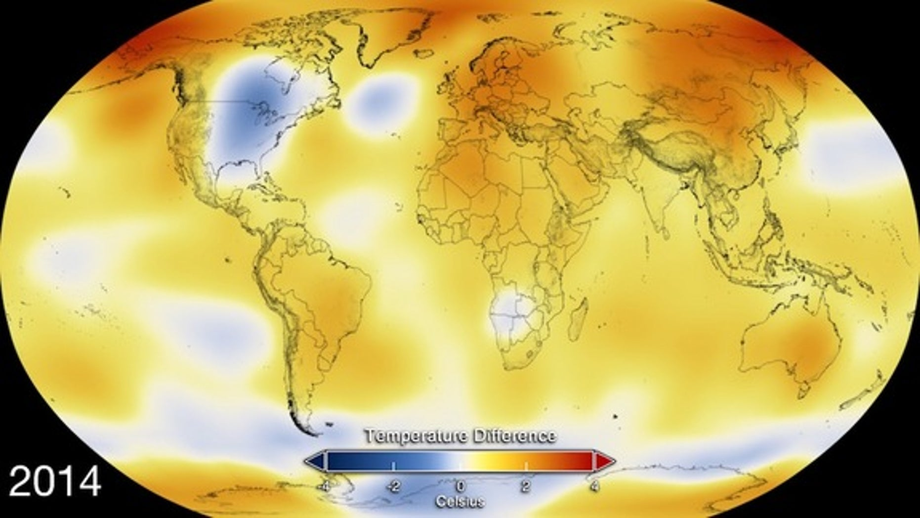 This color-coded map displays global temperature anomaly data from 2014.